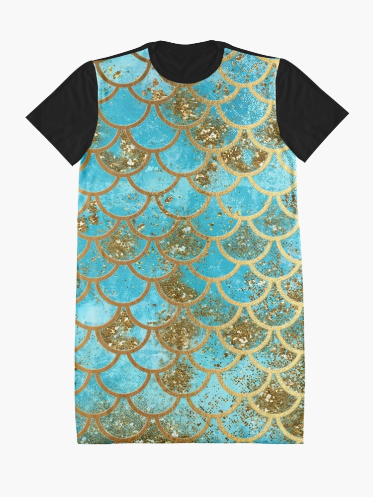 Alternate view of Teal, Gold Glitter and Blue Sparkle Faux Glitter Mermaid Scales Graphic T-Shirt Dress