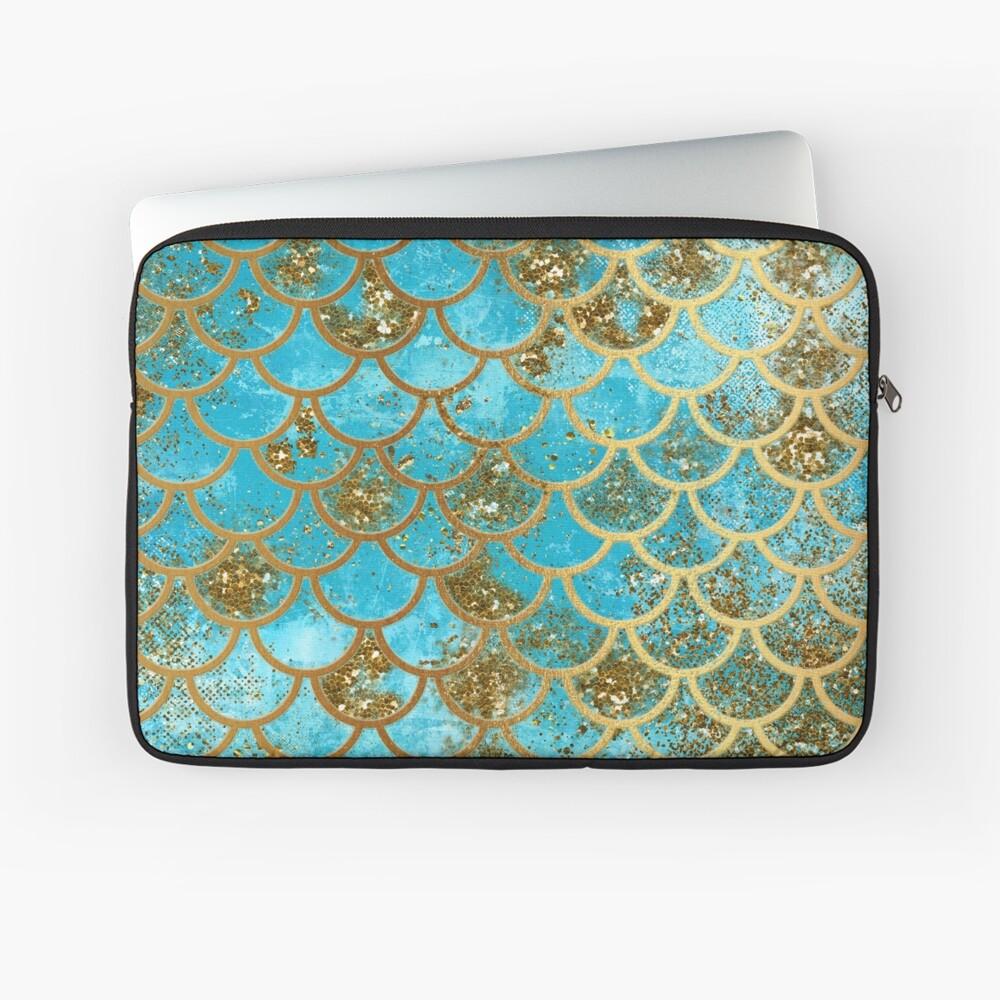 Teal, Gold Glitter und Blue Sparkle Faux Glitter Meerjungfrau Skalen Laptoptasche