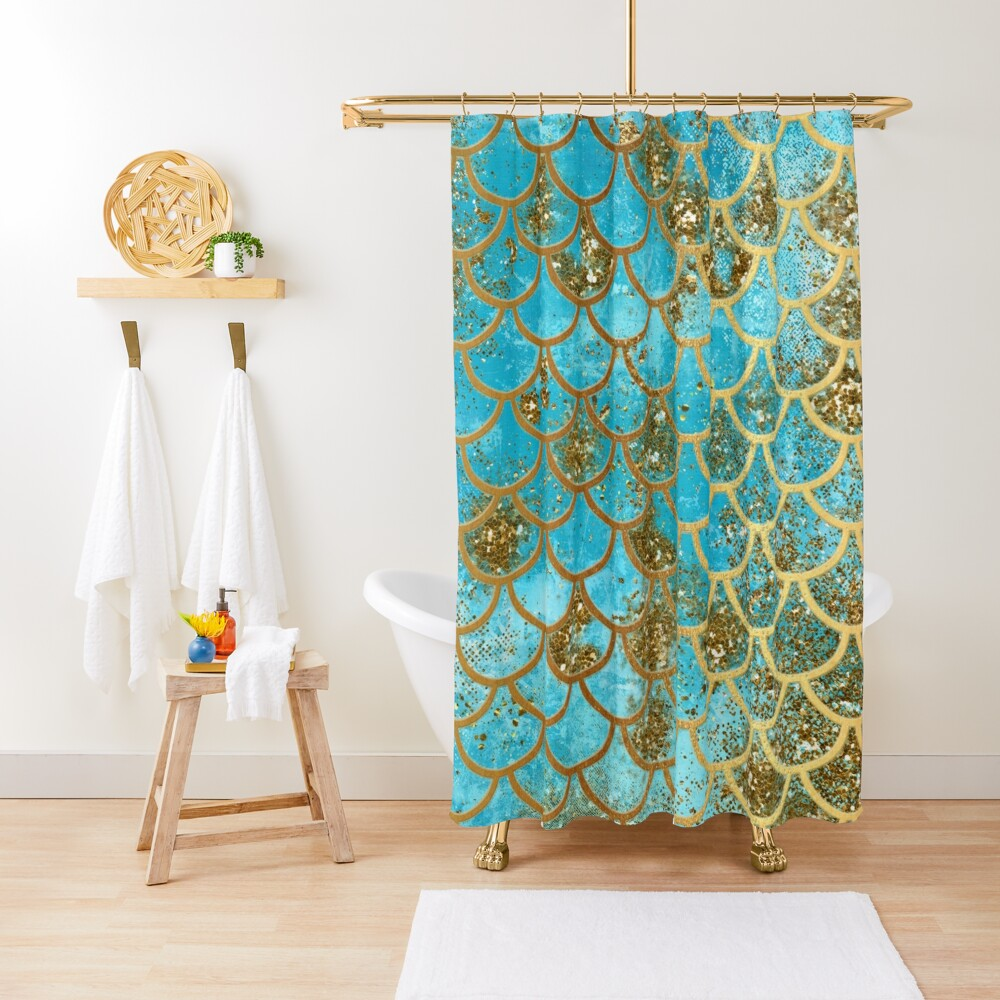 Teal, Gold Glitter and Blue Sparkle Faux Glitter Mermaid Scales Shower Curtain