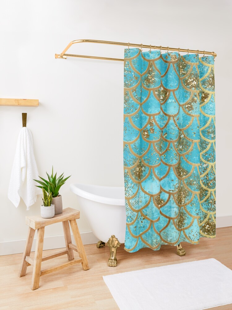 Alternate view of Teal, Gold Glitter and Blue Sparkle Faux Glitter Mermaid Scales Shower Curtain
