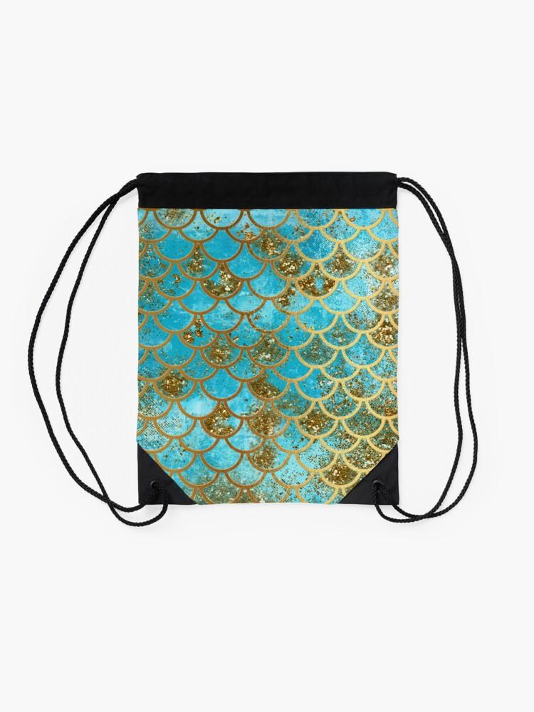 Alternative Ansicht von Teal, Gold Glitter und Blue Sparkle Faux Glitter Meerjungfrau Skalen Turnbeutel