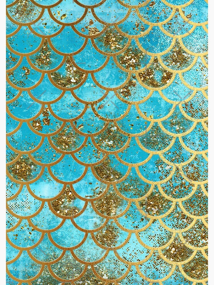 Teal, Gold Glitter and Blue Sparkle Faux Glitter Mermaid Scales by UtArt