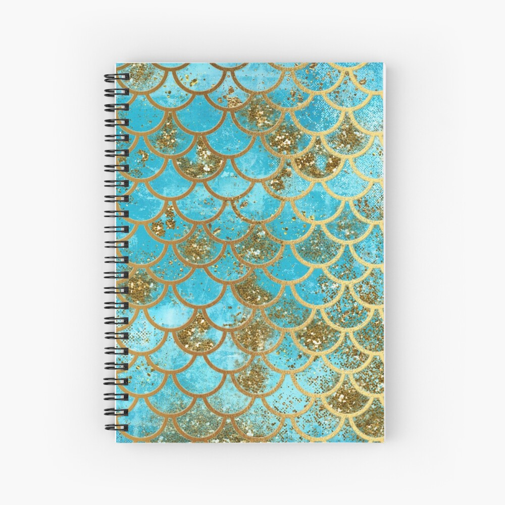 Teal, Gold Glitter and Blue Sparkle Faux Glitter Mermaid Scales Spiral Notebook