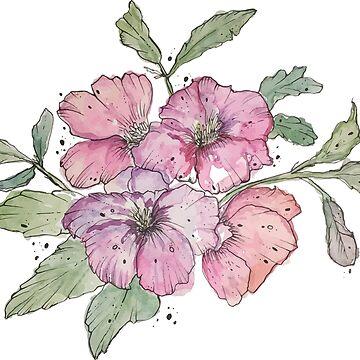 Florals Nr. 1 - Acuarelas, rosa, morado, naranja de MonJaro