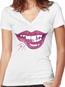 Bite Me! Women's Fitted V-Neck T-Shirt