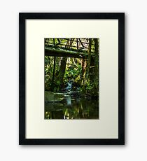 Wooden bridge near waterfall in Cabreia Portugal Framed Print