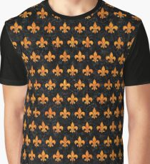 ROYAL1 BLACK MARBLE AND ORANGE MARBLE (R) Graphic T-Shirt
