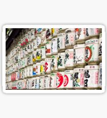 Barrels of Japanese wine stacked in Tokyo Sticker