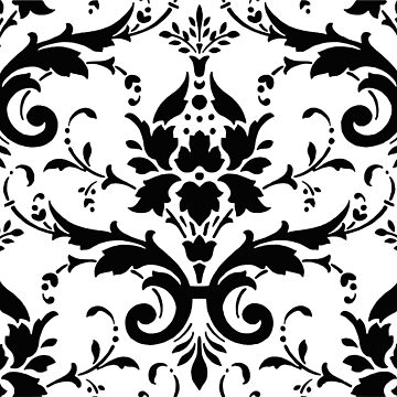 Damask Ornate Black and White Victorian Design by NaturePrints