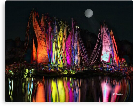 FULL MOON AT THE HARBOR II, by E. Giupponi by Elizabeth Giupponi