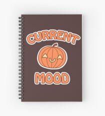 Current Mood: Kawaii Pumpkin Jack-O'-Lantern (with white border) Spiral Notebook