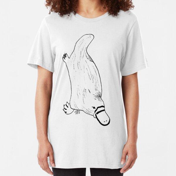 Schnabeltier schwarz - weiß Slim Fit T-Shirt