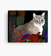 Tinkerbell Kitty and Flowers Canvas Print