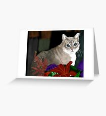 Tinkerbell Kitty and Flowers Greeting Card