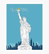 NY Statue of Liberty Line Art Photographic Print