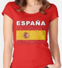 Espana Artistic Spanish Heritage Spain Flag Women's Fitted Scoop T-Shirt