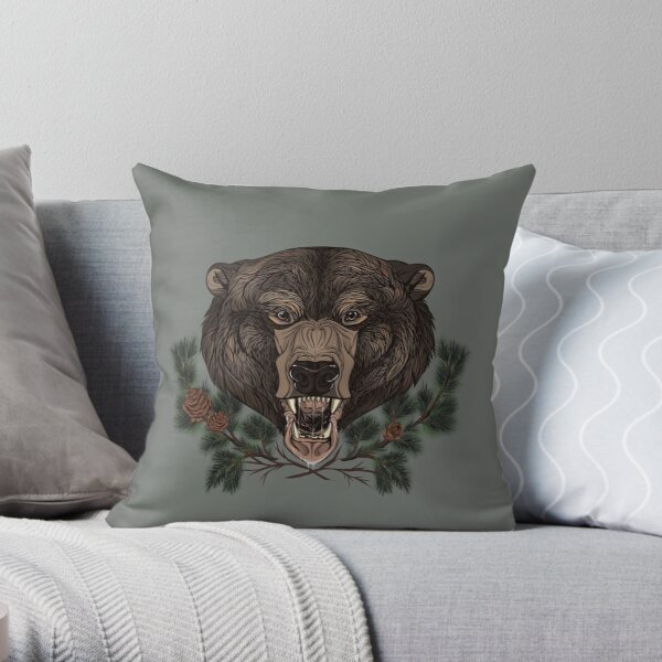 Bear of the Pine Forest Throw Pillow