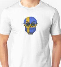 Nerdy Swedish Baby Owl on a Branch Unisex T-Shirt