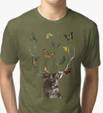 The Stag and Butterflies Tri-blend T-Shirt