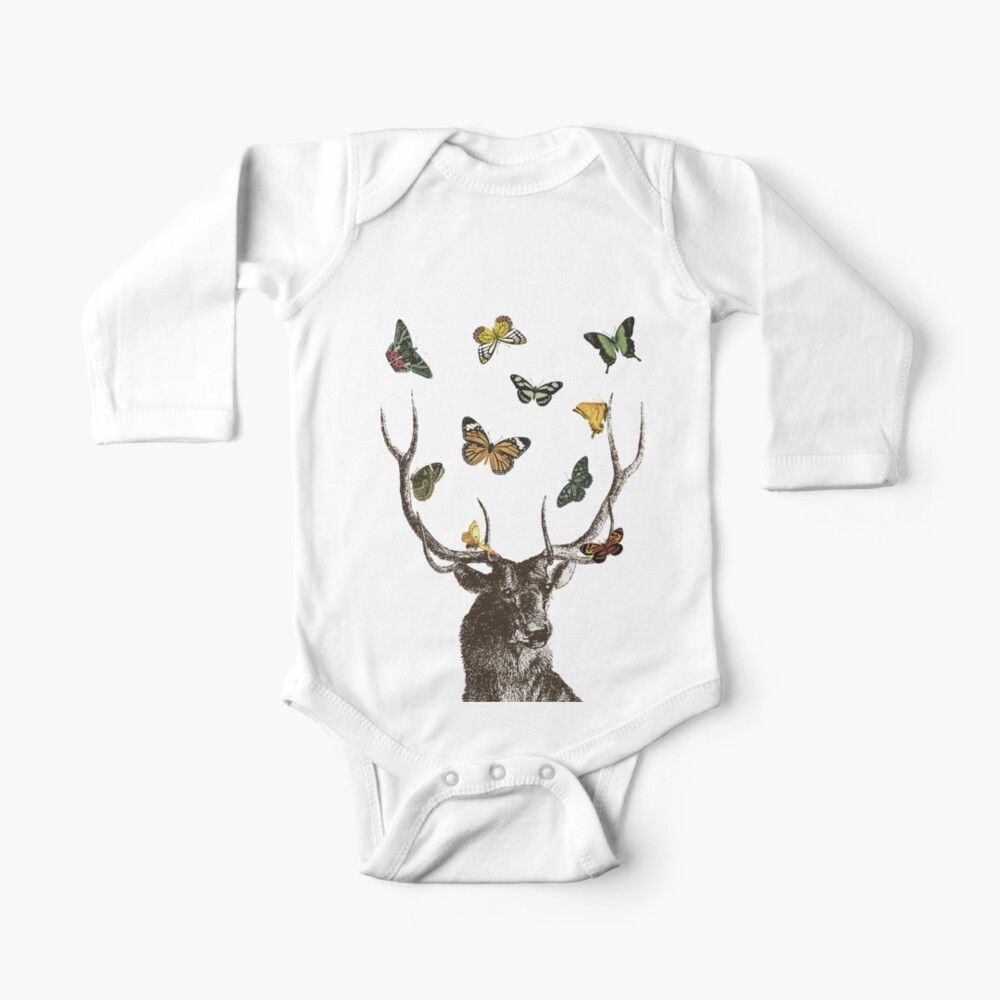 The Stag and Butterflies | Deer and Butterflies | Vintage Stag | Antlers | Woodland | Highland |  Long Sleeve Baby One-Piece