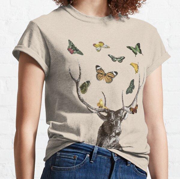 The Stag and Butterflies   Deer and Butterflies   Vintage Stag   Antlers   Woodland   Highland    Classic T-Shirt