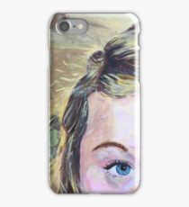 Close-Up Acrylic Portrait of a Blonde Girl iPhone Case/Skin