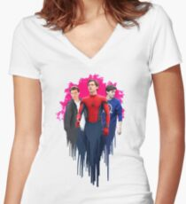 Peter Parker, drips.  Women's Fitted V-Neck T-Shirt