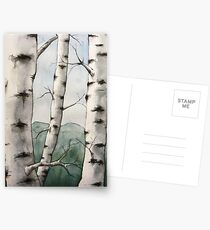 Watercolor Birch Tree Forest Postcards