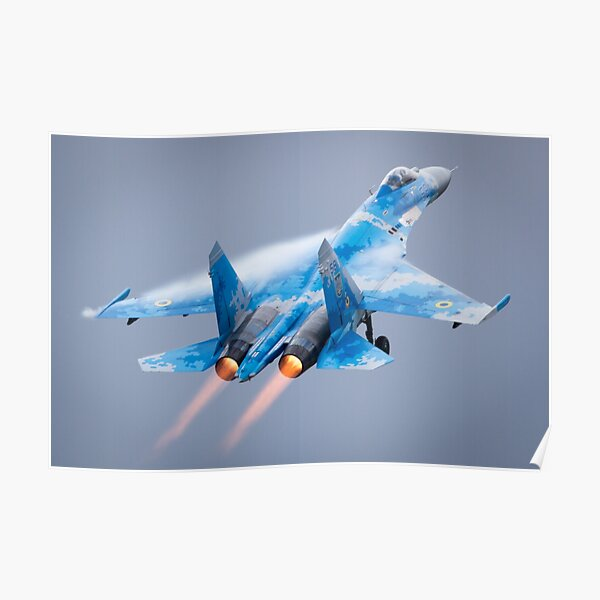 Ex-Russian Soviet Cold War Ukrainian Sukhoi SU-27 Flanker Displays at the Fairford International Air Tattoo Poster