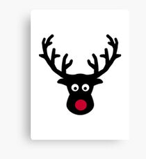 Reindeer face red nose Canvas Print