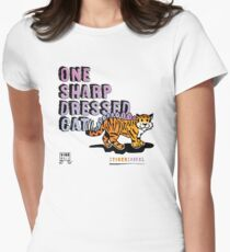 One Sharp Dressed Cat Women's Fitted T-Shirt