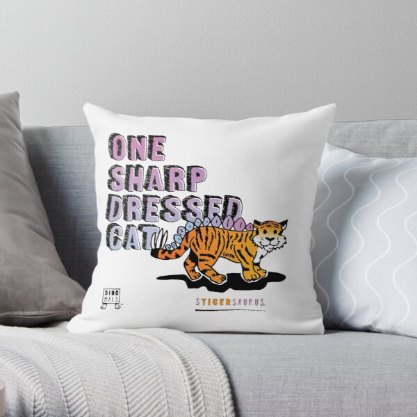 One Sharp Dressed Cat Throw Pillow