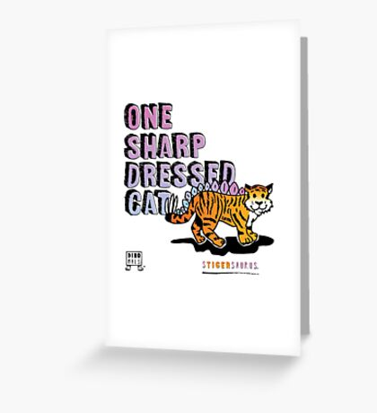 One Sharp Dressed Cat Greeting Card