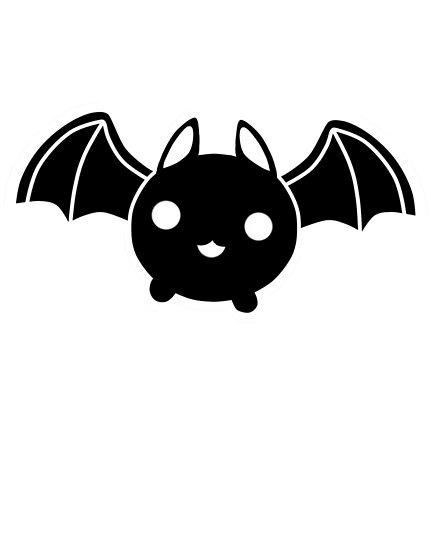 Bat kawaii. Black poster by