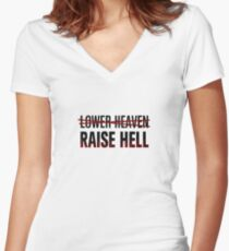 Lower Heaven Raise Hell Women's Fitted V-Neck T-Shirt