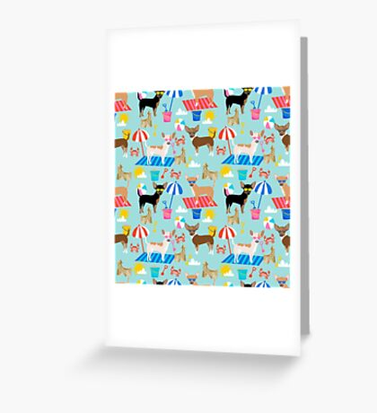 Chihuahuas beach summer cute dog art pet portrait dog breeds chihuahua Greeting Card