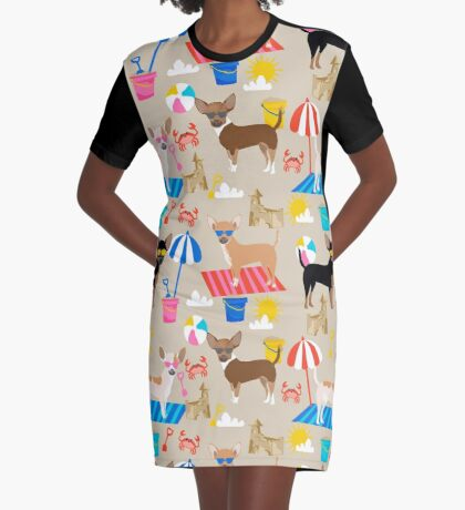 Chihuahuas beach summer cute dog art pet portrait dog breeds chihuahua Graphic T-Shirt Dress