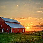 Red Barn Sunrise by Duane Sr