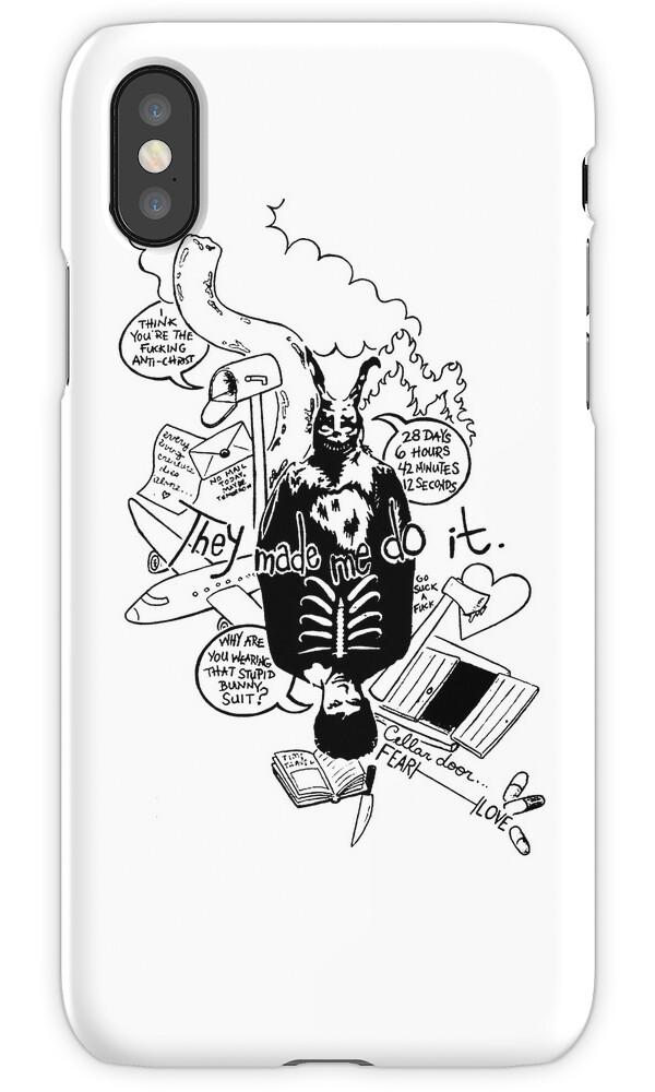 u0026quot donnie darko  white background  u0026quot  iphone cases  u0026 skins by