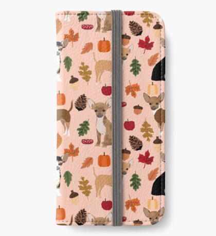 Chihuahua autumn fall dog breed pet chihuahuas pet portrait iPhone Wallet