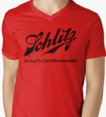 Schlitz - The Beer that Made Milwaukee Famous - weathered look Men's V-Neck T-Shirt