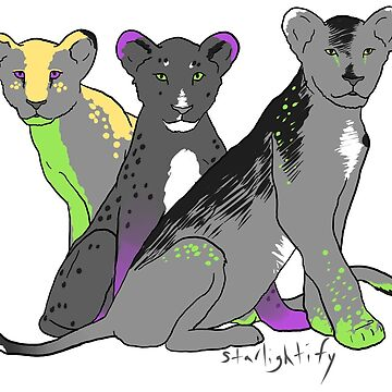 Aromantic, asexual, agender pride lions by starlightify