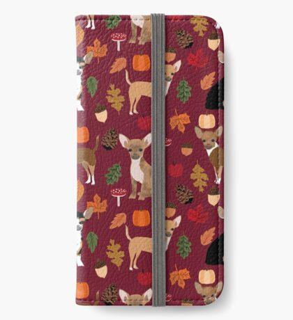 Chihuahua autumn fall dog breed pet portrait acorn pumpkin  iPhone Wallet