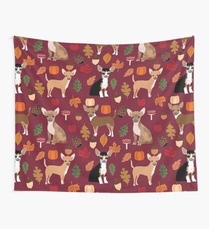 Chihuahua autumn fall dog breed pet portrait acorn pumpkin  Wall Tapestry