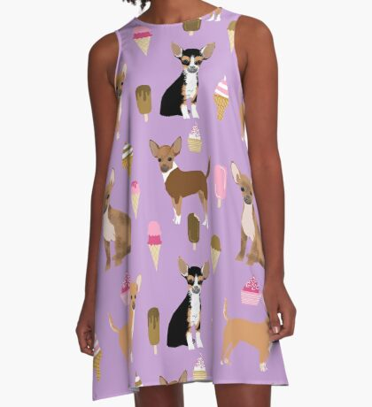 Chihuahua dog breed ice cream cone summer cute pet gifts chihuahuas A-Line Dress