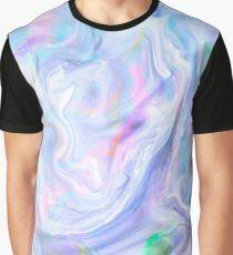 Holographic Pastel Color Print Graphic T-Shirt