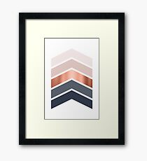 Chevrons in blush, navy and copper Framed Print
