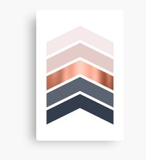 Chevrons in blush, navy and copper Canvas Print