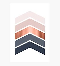 Chevrons in blush, navy and copper Photographic Print