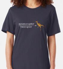 Velociraptor Math - Funny Dinosaur Velocity Formula Slim Fit T-Shirt